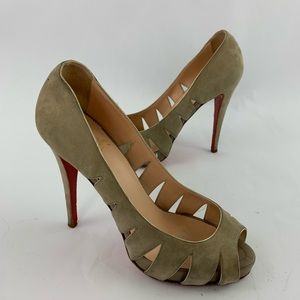 Christian Louboutin Peep Toe Sandals Cut Out Suede
